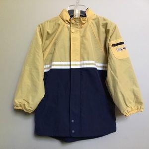 KITESTRINGS navy yellow light rain jacket 10 12/14